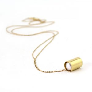 Pearl in a Gold Tube Pendant