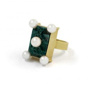 Pearl and Malachite Ring