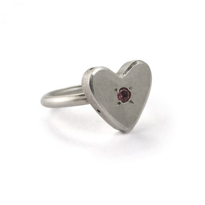 Classic Heart Ring with Garnet